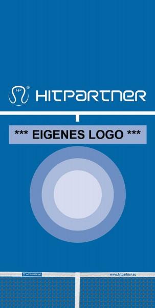Tenniswand HitPartner Spanntuch blau mit eigenem Logo