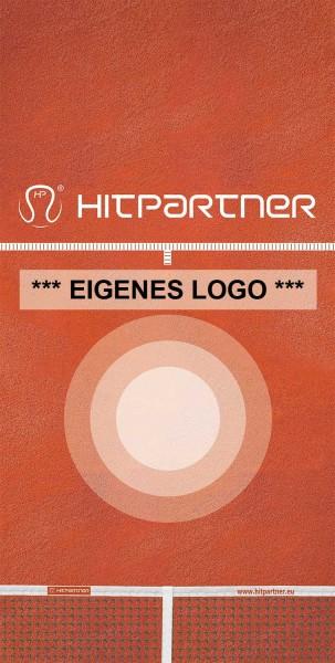 Tenniswand HitPartner Spanntuch rot mit eigenem Logo
